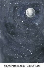 Starry sky and a full moon