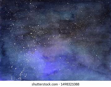 Starry sky. Galaxy. Hand-drawn, watercolor starry sky, milky way background.