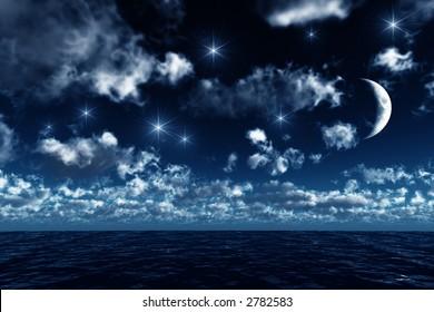 starry sky upon the ocean