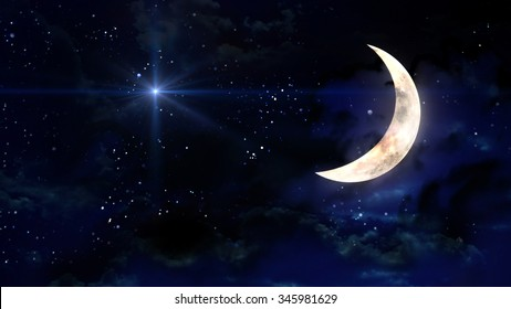 starry star night with half moon in cloudscape - Elements of this Image Furnished by NASA