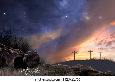 Starry Sunset at the Scene of the Resurrection of Jesus - Elements of This Image Furnished by NASA