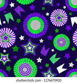 Stars and Cockades Seamless Pattern in Green and Purple on Dark Blue Background. Festive Design for Print, Background, Gift Wrap, Wallpaper, Upholstery and Fashion Textile.