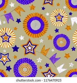 Stars and Cockades Seamless Pattern in Orange and Purple on Sand Background. Festive Design for Print, Background, Gift Wrap, Wallpaper, Upholstery and Fashion Textile.