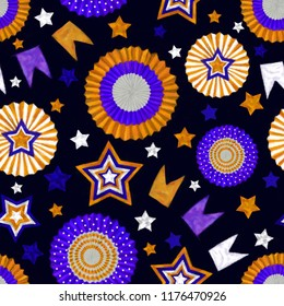 Stars and Cockades Seamless Pattern in Orange and Purple on Dark Purple Background. Festive Design for Print, Background, Gift Wrap, Wallpaper, Upholstery and Fashion Textile.