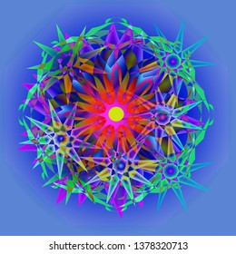 STARS MANDALA, STARS IN DIFFERENT KIND OF BLUES AND GREENS, CENTRAL FLOWER IN CORAL WITH PINK CENTER, PLANE LIGHT BLUE BACKGROUND, GEOMETRIC SHAPES, ASYMMETRIC IMAGE