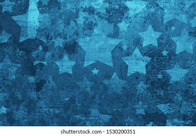Stars on distressed old vintage blue background wall with cracks and peeling paint on barn wood grunge texture, faded patriotic background for July 4th, veteran's day, memorial day