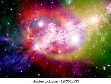 Stars of a planet and galaxy in a free space Elements of this image furnished by NASA
