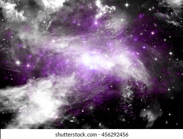 """Stars of a planet and galaxy in a free space. """"Elements of this image furnished by NASA""""."""