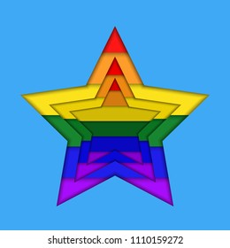 Stars in rainbow colors in paper cut style flat  icon.