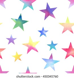Stars. Watercolor geometric seamless pattern, stars different sizes and colors, watercolor gradient, white background.