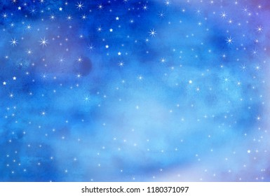 stars, watercolor painting
