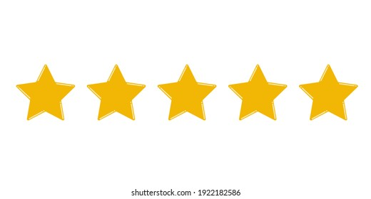 Stars yellow isolated on white background. Rating for sites, hotels, travel packages, online stores, reviews.
