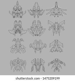 Starship Design Sketch. Line Art Illustration. Video Game Digital CG Artwork. Concept Art.