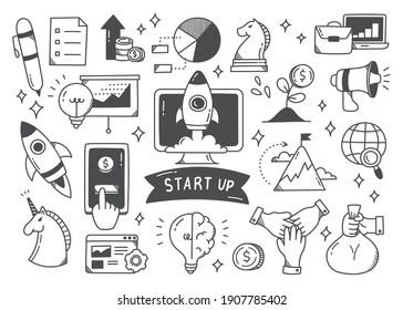 Start up concept doodle set