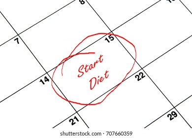 Start Diet Circled on A Calendar in Red
