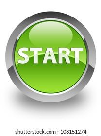 Start icon on glossy green round button