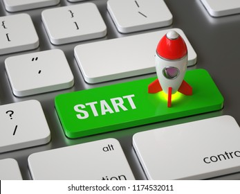 Start key on the keyboard,3D rendering,conceptual image.
