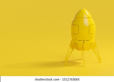Start up and Minimal concept. Rocket yellow background, 3D Render.