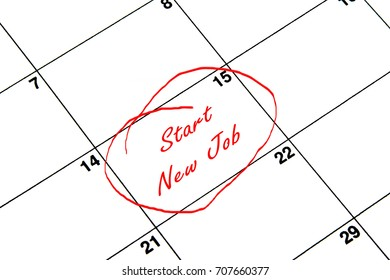 Start New Job Circled on A Calendar in Red