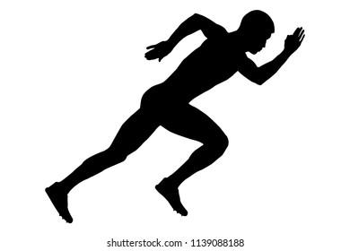start of a sprinter runner men black silhouette