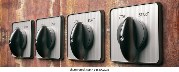 Start stop switch retro old round on grunge wall background, banner. Industrial turning on off control panel. 3d illustration