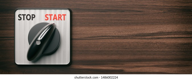 Start switch turning on retro old round on wood background, banner, copy space. Engine control panel closeup view. 3d illustration