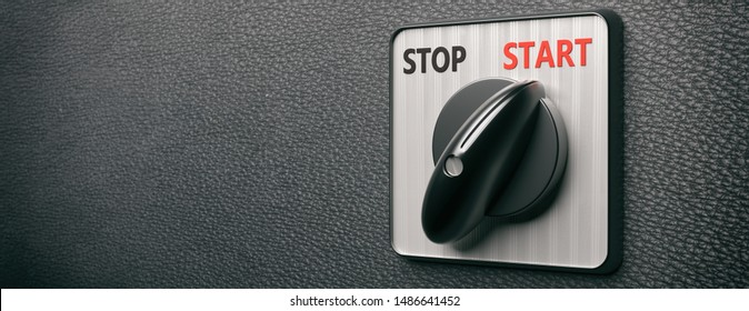 Start switch turning on retro old round on black leather background, banner, copy space. Engine control panel closeup view. 3d illustration