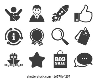 Start up, award and customers like signs. Discount offer tag, chat, info icon. Online shopping, e-commerce and business icons. Big sale, shipment and favorite symbols. Classic style signs set.