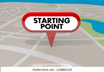 Starting Point Beginning First Stop Spot Map Pin 3d Illustration
