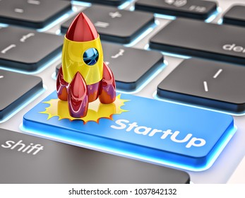 Startup, business innovation and creative technology concept, rocket starts up from laptop computer keyboard button, 3d illustration