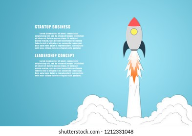 startup business plan concept innovation creative idea design leadership rocket flying up to sky infographic strategy target to success of management development marketing finance investment project.