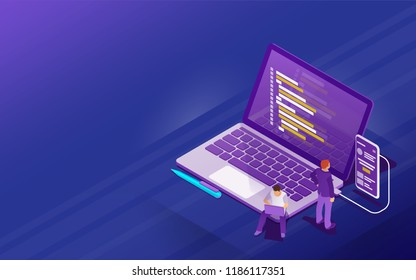 Startup concept with flat 3d isometric style. Development of software and mobile app. Program code on laptop and phone screen. Launch a new product on a market. Raster image