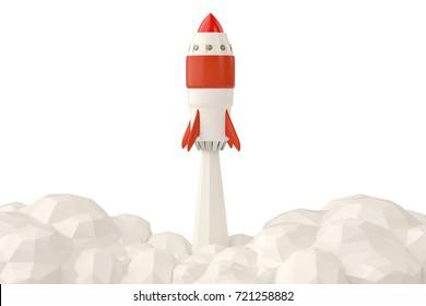 Startup concept with rocket flying on white background.3D illustration.