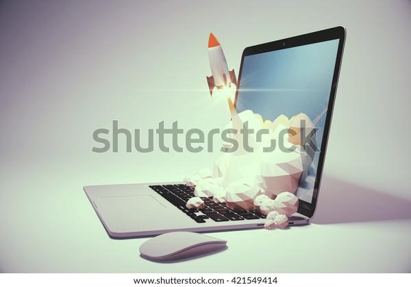 Startup-Konzept mit Rakete, die auf hellgrauem Hintergrund aus dem Laptop fliegt. Sideview, 3D-Rendering