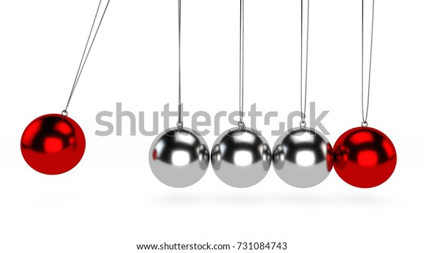Startup and cradle, it is a device that demonstrates conservation of momentum and energy using a series of swinging spheres. Executive Ball Clicker. .3d rendering