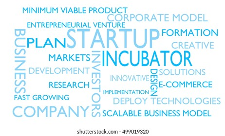 Star-tup, incubator word tag cloud - white, English variant, 3D rendering