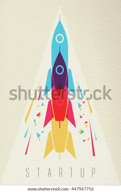 Startup launch concept, rocket ship for creative idea  in color style over texture background.