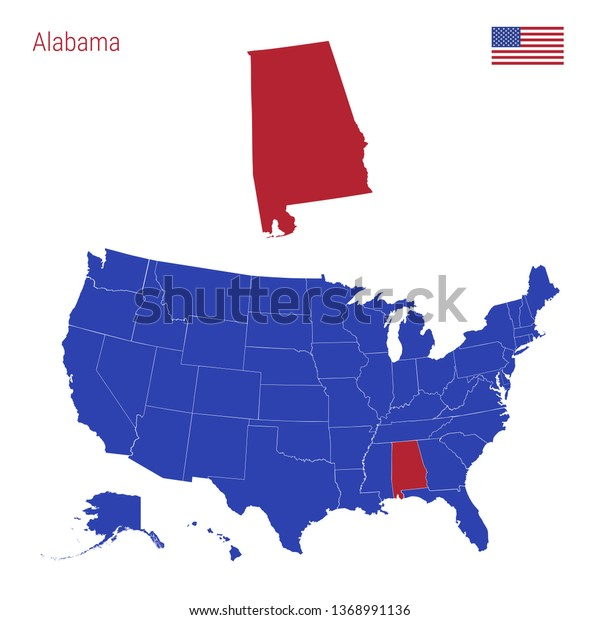 State Alabama Highlighted Red Blue Map Stock Illustration ...