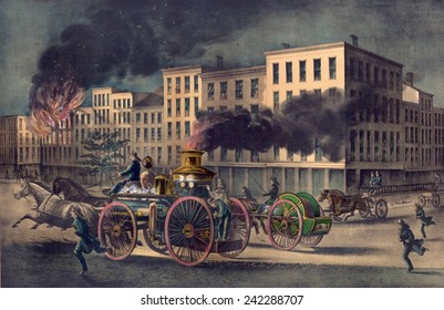 State of the art fire-fighting equipment in 1866 included a horse drawn fire engine accompanied by separate hose and ladder carts.