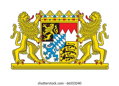 State of Bavaria coat of arms, Germany. Isolated on white background.
