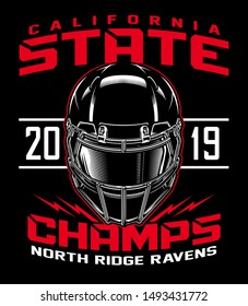 State champs football helmet graphic illustration
