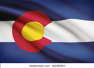 State of Colorado flag blowing in the wind. Part of a series.