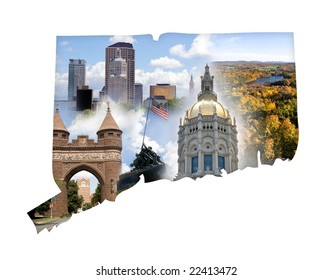 The state of Connecticut in a montage isolated over white.
