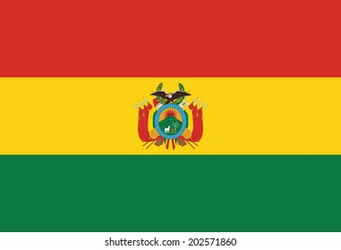State flag of Bolivia. Accurate dimensions, element proportions and colors.