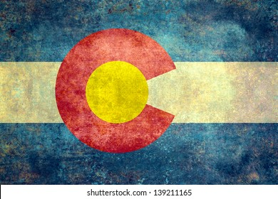 The State flag of Colorado, USA in distressed format