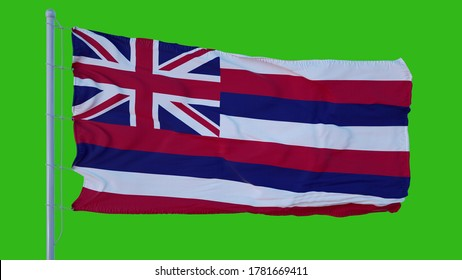 State flag of Hawaii waving in the wind against green screen background. 3d illustration.
