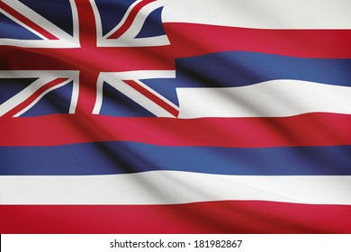 State of Hawaii flag blowing in the wind. Part of a series.