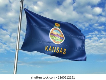 State of Kansas of the United States flag with sky on background realistic 3d illustration