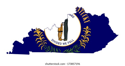 State of Kentucky flag map isolated on a white background, U.S.A.