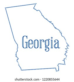 State Map Outline Georgia Over White Stock Illustration Royalty